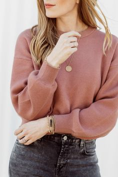 Cropped Knits + up to date jewellery main points
