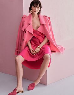 Photographed by Alvaro Beamud Cortes, Sam poses in pink looks for the fashion editorial
