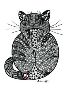 Black and White Zentangle Cat drawing Print. $15.00, via Etsy.