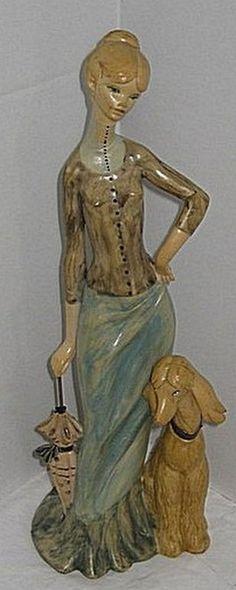 Simonetti Figurine Lady Afghan Dog Umbrella Mid by RetroExchange