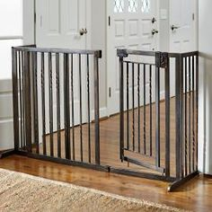 Our Freestanding Pet Barrier with Walk-through Door provides a contemporary, stylish alternative to plain metal pet gates. This handsome pet product offers walk-through convenience for you, so you can place this pet gate anywhere in your home. Door Design, House Design, Pet Barrier, Pet Door, Pet Gate, Animal House, Or Antique, Stairways, Simple