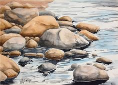 Landscape Sketch, Watercolor Landscape Paintings, Seascape Paintings, Landscape Art, Acrylic Painting Techniques, Watercolor Techniques, Watercolor Illustration, Watercolor Art, Drawing Rocks