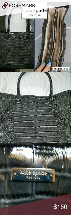 Kate Spade huge croc shopper Guaranteed authentic. I don't know if I have the dust bag but this price is unbeatable and I guarantee authenticity. This bag is just too big for me. There are no scratches or where on the bag. It is clean and has the Kate Spade fabric as shown.,, may not be bundled with anything else for further discount. 13 inch across. kate spade Bags Totes