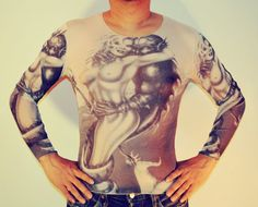 Tattoo T-Shirt Japanese YAKUZA  mermaid merman T-shirt Long Sleeved Men & Women Unisex (Free size S-XL) CS-24