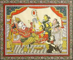 Reclining+Ganesha+with+Four+Devotees+(Orissa+Pattachitra+Painting+on+Tussar+Silk+-+Unframed)