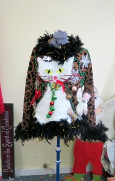 OOAK 3-D Fuzzy Furry Kitty Cat HILARIOUS Tacky Ugly Christmas Sweater Feather Boa FooFoo Trim  Lightup  Womens SZ Medium-Large Quick Ship!
