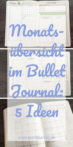 Bullet Journal Monthly Log: 5 Ideen für deine Monatsübersicht #bulletjournal