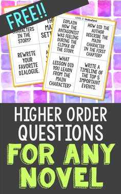 This FREE set of higher order thinking questions includes 4 cards for each of the 6 levels. You'll also receive interactive notebook pockets if you'd like to include these in with your hands-on projects! Use these as task cards or as class discussion questions.   These cards pair perfectly with any one of my 60+ novel units. All novel units created by Elle Madison comes in two formats - traditional print & go worksheets AND cut & paste interactive notebooks.