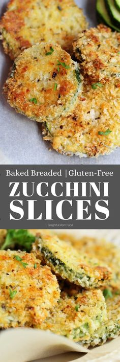It is so delicious and easy to make these Parmesan breaded baked zucchini slices! Enjoy sliced into crisps or slice them into zucchini fries! It's my kid's favorite healthy vegetable snack! #glutenfree #snacks #zucchini #fries #zucchinichips #bakedzucchinislices #zucchinislices #zucchinifries #breadedzucchini #healthy | Recipe at Delightful Mom Food Gluten Free Zucchini Slice, Easy Zucchini Recipes, Healthy Appetizers, Healthy Snacks, Appetizer Recipes, Healthy Recipes, Gluten Free Recipes For Kids, Whole 30 Recipes, Real Food Recipes