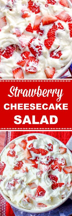 How did this luscious, sweet, creamy dessert get the name Salad? It is a fabulous strawberry dessert . Fruit Salad With Pudding, Strawberry Cheesecake Salad, Banana Cheesecake, Strawberry Desserts, Pumpkin Cheesecake, Cheesecake Factory Recipes, Chocolate Cheesecake Recipes, Banana Pudding Recipes, Cheesecake Desserts