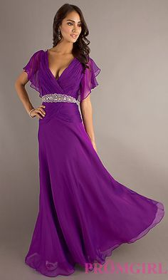 Long V-Neck Gown for Prom at PromGirl.com