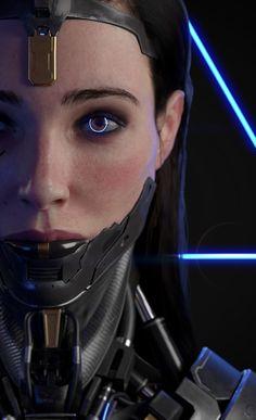 Character design WIP from my current personal project. Arte Cyberpunk, Cyberpunk Aesthetic, Cyberpunk Girl, Cyberpunk 2077, Cyberpunk Fashion, Cyberpunk Tattoo, Cyborg Girl, Arte Robot, Robot Girl