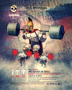 leg exercise: squats 20 spartan
