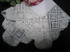 Vintage Wedding Hankie Drawn Work Lace WH048