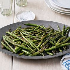 Skillet Green Beans Recipe - Sesame oil and soy sauce lend these veggies Asian flair.