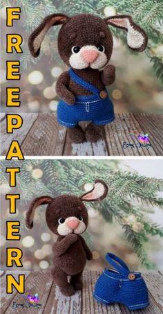 Crochet Bunny Pattern, Crochet Rabbit, Crochet Amigurumi Free Patterns, Crochet Animal Patterns, Stuffed Animal Patterns, Crochet Animals, Crochet Dolls, Free Crochet, Knit Crochet