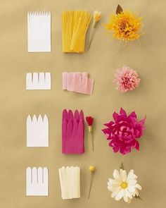 DIY flowers out of diff kinds of paper.  Wonder if same techniques could be applied with fabric