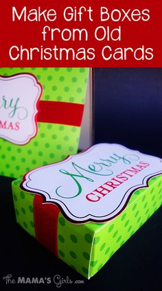 Make Gift Boxes from Old Christmas Cards - LOVE this idea!