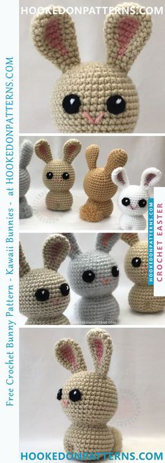 FREE CROCHET BUNNY PATTERN - Check out this cute kaiwaii amigurumi bunny. The crochet pattern is free to view at hookedonpatterns.com #bunny #easter #crochet #crafts #free