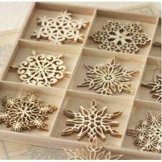 laser cut wooden snowflakes