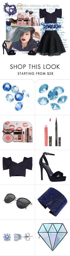 """DarkBlue & Black"" by nejry ❤ liked on Polyvore featuring Blue La Rue, Bobbi Brown Cosmetics, Charlotte Tilbury, Cynthia Rowley, Delpozo, Carvela, Swarovski, BERRICLE, Unicorn Lashes and girlpower"