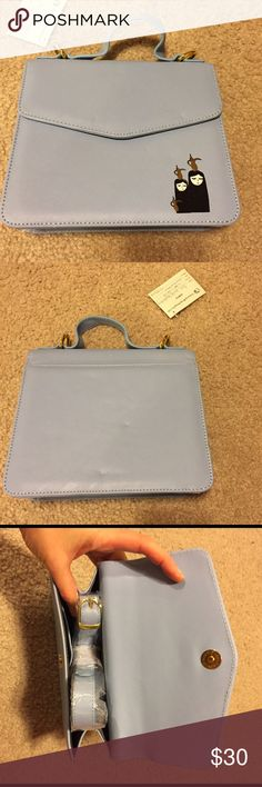 Fashionista leather bag Super cute and stylish small bag, the color is a light blue/grey, the print is super cute of two girls with magic lamps, short handle, long strap, perfect as a gift. Bags Mini Bags