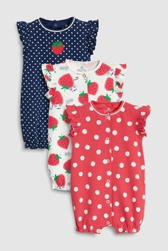 53cd72e8ba4 Buy Strawberry Print Rompers Three Pack from the Next UK online shop · Baby  ...