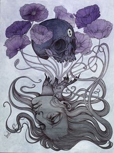"""""""Time Is Not On Our Side"""", an original 18″ by 24″ painting in watercolor, acrylic, pen and ink, and gesso on cold press watercolor paper mounted to cradled birch panel. This piece was created for my solo show """"For Your Bones We Wait"""" at Arch Enemy..."""