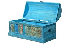 Truhe Aqua - echt Altholz - blue washed - lackiert