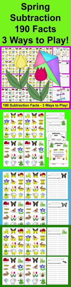 $ Spring Subtraction Facts Activities - 3 Ways to Play – 190 Facts - 42 page download – 190 Subtraction Facts to 18 (Addition Facts available in my other product listings .) Designed to be printed out back to back with reverse Spring images printing on the back side. OR print out backings separately and glue to plain sides of fact cards OR don't print the backing sheets at all. Simply use the cards with no backings.