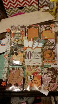 Pocket letter for autumn theme. I love the '10 things I ❤️' pocket idea!