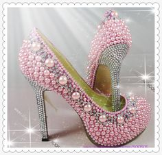 Women High Heels Shoes Pink Pearl Crystal Proforma Pumps-in Pumps from Shoes on Aliexpress.com