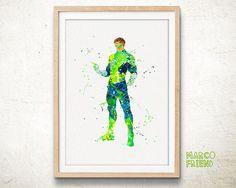 Justice League Green Lantern Watercolor Art Print by MarcoFriend