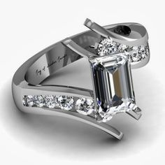I would like but with Diamond and Pink Sapphires. A Museum Perfect Emerald Cut Russian Lab Diamond Engagement Promise Anniversary Wedding Ring Wedding Anniversary Rings, Anniversary Jewelry, Wedding Rings, Anniversary Ideas, Emerald Cut Diamond Engagement Ring, Emerald Diamond, Emerald Rings, Halo Engagement, Pink Sapphire