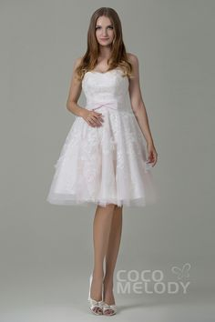 Perfect A-Line Sweetheart Natural Knee Length Tulle Sleeveless Zipper Wedding Dress with Appliques and Sashes CWZM15002