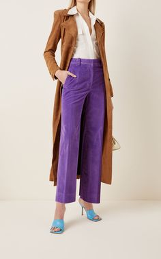 Victoria Victoria Beckham designs timeless separates to be seamlessly integrated with your everyday wardrobe. From the Resort '21 collection, these corduroy trousers have a relaxed wide-leg silhouette, showcasing a high-rise waist and cropped hemlines. Use this pair to add a pop of color to your sharply tailored look. Corduroy Pants, Wide Leg Trousers, Victoria Beckham, Hemline, Color Pop, Legs, Model, How To Wear, Cotton