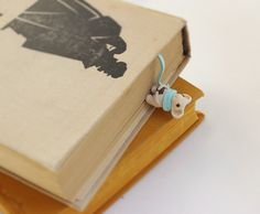 Cute Mouse bookmark. The blue long scarf bookmark. Her scarf is bookmarked. gifts for best friends, children, bookworms. Great gift to school children.