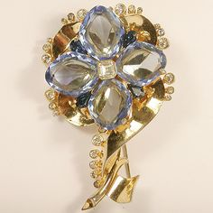 Mazer Gold and Sapphire Crystal Quatrefoil Flower Pin