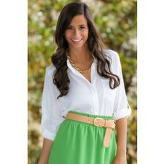 How pretty is this green!? www.theboutiquehub.com #Skirt #Boutique #Style