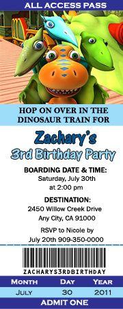 Dinosaur Train ticket invites