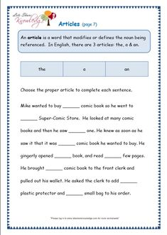 Articles Worksheet A An The Includes Answers Teaching 2nd