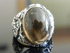 925k sterling silver unique natural smoky topaz gemstone mens ring gift for him #Handmade #Turkish