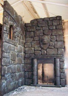 castle scenery prop decoration fireplace mediaeval theme gargoyle