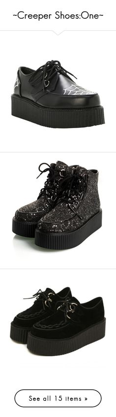 """~Creeper Shoes:One~"" by thebrittsclockwork ❤ liked on Polyvore featuring shoes, embroidered shoes, demonia footwear, demonia shoes, demonia, black leather shoes, boots, ankle booties, creepers and gothic boots"