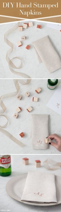 Let your creativity shine in how you style each place setting at your next fall dinner party. Hand stamp linen napkins to create patterns, highlight your theme, or customize a monogram.
