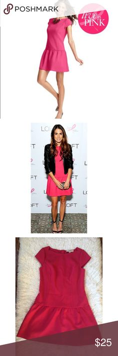 """Ann Taylor Loft Dress Amazing pink dress from the LOFT """"Live in Pink"""" Collection, in partnership with Giuliana Rancic. Worn by Nikki Reed... Color is more true to worn photos, I had trouble capturing it. -------- We took our favorite, have-to-have pieces and designed them in hot pink so you can show off your support of the fight against breast cancer. Get your pink on head-to-toe or add a girly pop to any outfit. Boatneck. Cap sleeves. Peplum hem. Exposed back zip. Ann Taylor Dresses Mini"""
