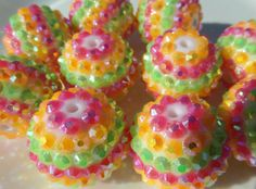 20mm 10CT Chunky Pink Yellow and Green Rhinestone by SofiasCottage