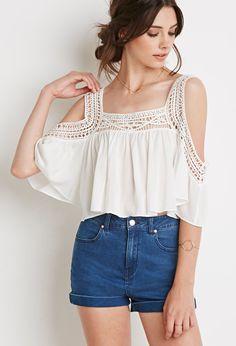 Crocheted Open-Shoulder Crop Top   Forever 21 - 2000079285