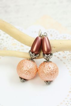 Orange Pearl Earrings Drops, Orange Pearl Dangles, Orange Earrings under 20, Pearl Drops, Summer Earrings, Orange Dangles, Bridesmaids Gifts by TrinketHouse on Etsy