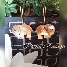 """Elephant gold plated dandle earrings. Special design to match one of """"Total Love"""" Collection made by Pathy. by PathysDesign on Etsy"""